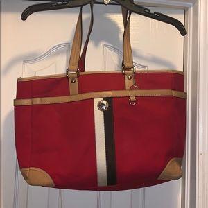 Coach leather trim multi-purpose or diaper bag